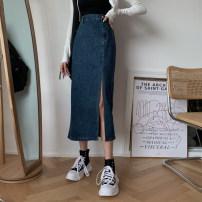 skirt Autumn 2020 S,M,L Blue, black Mid length dress commute High waist Denim skirt Solid color 18-24 years old Button Korean version
