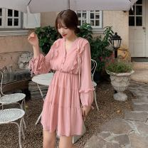 Dress Spring 2021 Black, apricot, pink Average size Middle-skirt singleton  Long sleeves commute V-neck middle-waisted Solid color Socket Irregular skirt routine Type A Other / other Korean version Chiffon