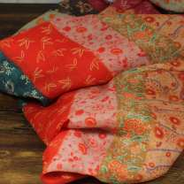Fabric / fabric / handmade DIY fabric hemp Half meter price Loose shear piece Plants and flowers printing and dyeing clothing Chinese style