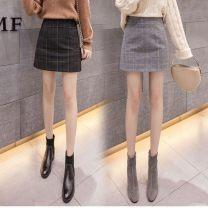 skirt Winter 2020 S(90-96),M(98-106),L(108-118),XL(120-130),2XL(132-140) Gray, black Short skirt commute High waist A-line skirt 18-24 years old 71% (inclusive) - 80% (inclusive) Wool Other / other polyester fiber Print, zipper Simplicity