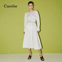 Dress Spring 2021 White, yellow S, M longuette singleton  Long sleeves commute Crew neck Elastic waist Socket A-line skirt routine Others 25-29 years old Type X Curefor lady S41101021 91% (inclusive) - 95% (inclusive) cotton