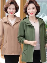 Middle aged and old women's wear Autumn 2020 Green, khaki, brick red, collection shop free freight insurance XL [recommended 90-110 kg], 2XL [recommended 110-125 kg], 3XL [recommended 125-135 kg], 4XL [recommended 135-145 kg], 5XL [recommended 145-165 kg] fashion Windbreaker easy singleton  other