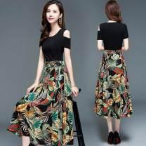 Dress Spring 2021 Mid length dress singleton  Short sleeve Splicing