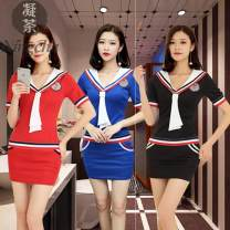 Hotel uniform Summer 2020 Red dark green blue black S M L XL XXL XXXL 4XL 23J2E_ one trillion and six hundred and fifteen billion one hundred and eleven million four hundred and forty-nine thousand eight hundred and ninety 18-25 years old Honey storehouse Triacetate fiber (triacetate fiber) 100%
