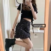 Fashion suit Summer 2020 S. M, l, average size Black skirt, black T-shirt, black skirt + black T-shirt, blue T-shirt 9966, black skirt + blue T-shirt 9966 18-25 years old