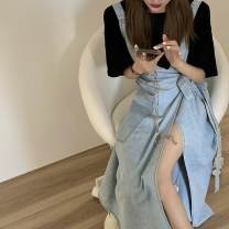 Outdoor casual clothes Tagkita / she and others female fifty-eight point six zero Black T-shirt + light color denim skirt, single skirt, black T-shirt, style customization deposit 51-100 yuan S,M,L,XL other autumn