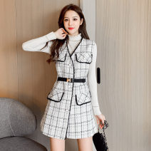 Cosplay women's wear suit goods in stock Over 14 years old Black check + black T-shirt, white check + apricot sweater game S,M,L,XL