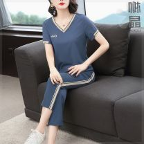 Middle aged and old women's wear Summer 2021 leisure time suit Self cultivation Two piece set letter Condom 40-49 years old moderate V-neck routine K56699 Liu · Kin / Liu Jing pocket other 96% and above routine Ninth pants M,L,XL,2XL,3XL,4XL