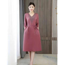 Dress Winter 2016 Blue, black, yellow, pink XL (90 ~ 115 kg), 2XL (116 ~ 125 kg), 3XL (126 ~ 140 kg), 4XL (141 ~ 155 kg), 5XL (156 ~ 170 kg) Mid length dress singleton  three quarter sleeve street other routine Others Fun together 71% (inclusive) - 80% (inclusive)