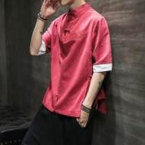 T-shirt other Red, black, navy routine M,L,XL,2XL,3XL,5XL,4XL Sister he Long sleeves High collar Super slim daily Four seasons