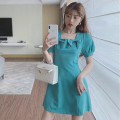 Women's large Summer 2021 Malachite blue S,M,L. singleton  commute Self cultivation moderate Short sleeve Solid color Retro square neck other Three dimensional cutting puff sleeve 18-24 years old 81% (inclusive) - 90% (inclusive) Short skirt bow