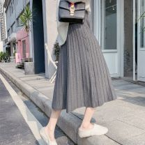 skirt Winter 2020 S suggests 85-99 Jin, m suggests 100-110 Jin, l suggests 110-120 Jin, XL suggests 120-138 Jin, [free freight insurance = free try on], [about to increase price: 98 yuan], [focus on genuine to show body] Mid length dress Versatile High waist Pleated skirt Solid color Type A YF8686