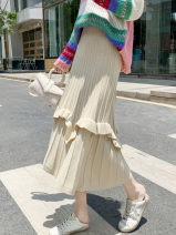 skirt Autumn 2020 Average size Black, grey, apricot longuette commute High waist A-line skirt Solid color Type A 18-24 years old 2-5 51% (inclusive) - 70% (inclusive) knitting Splicing Korean version