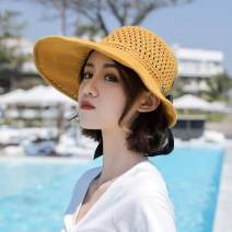 Hat Cotton and hemp Black, brown, yellow, khaki, gray, off white, pink U20- Adjustable foldable windbreak I22- Sun hat spring female grace middle age Big eaves 15-19 years old bow sandy beach Hemming Other / other P63049