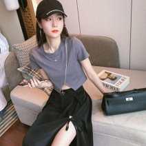 skirt Summer 2020 S,M,L,XL Grey, black, grey T-shirt + black skirt Mid length dress High waist A-line skirt Other / other Diamond, lace up, zipper