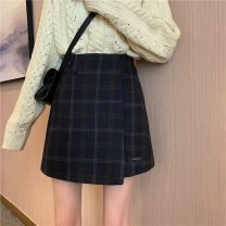 skirt Autumn 2020 S,M,L,XL,2XL,3XL,4XL Dark blue lattice-h85 Short skirt commute High waist Irregular lattice Type A Wool other Three dimensional decoration, asymmetry, zipper, printing Korean version