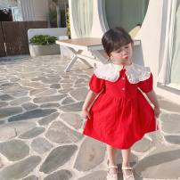 Dress gules female Other / other 80cm,90cm,100cm,110cm,120cm,130cm Other 100% summer Korean version Solid color cotton Princess Dress Class B 2 years old, 3 years old, 4 years old, 5 years old, 6 years old, 7 years old, 8 years old