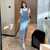 Dress Summer 2021 S M L XL longuette Two piece set Short sleeve commute Crew neck High waist Solid color Socket other routine Others 25-29 years old lady More than 95% other other Other 100%