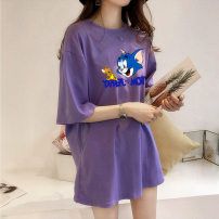 T-shirt Black, blue, purple, rose, white, gray, yellow XL,L,M,XXL Summer 2021 Short sleeve Crew neck easy Medium length routine polyester fiber 51% (inclusive) - 70% (inclusive) 18-24 years old printing