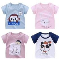 T-shirt Other / other 73cm,80cm,90cm,100cm,110cm,120cm,130cm neutral summer Short sleeve Crew neck leisure time No model nothing cotton Color matching Cotton 100% R4619 Class A other 12 months Chinese Mainland