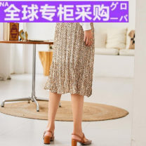 skirt Autumn 2020 XS,S,M,L yellow Middle-skirt commute Natural waist Umbrella skirt Type A 25-29 years old 2008T15 More than 95% polyester fiber fold Ol style