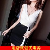 Dress Spring 2021 S,M,L,XL Short skirt Sleeveless V-neck middle-waisted Solid color Socket One pace skirt straps 18-24 years old Type X backless