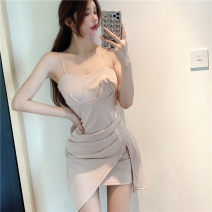 Dress Summer 2021 Picture color S M L Short skirt singleton  Sleeveless Sweet Crew neck High waist Solid color zipper One pace skirt routine camisole 18-24 years old Meiyingfen Fold stitching asymmetric three dimensional decoration 12787417452gj More than 95% other Other 100% solar system