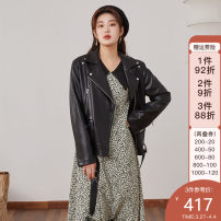 leather clothing Single bundle Spring 2021 L,XL,XXL,XXXL black routine Long sleeves Straight cylinder commute Doll Collar other 21DS1078 other 25-29 years old