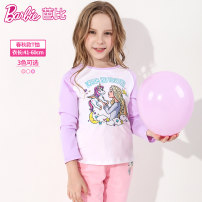 T-shirt Pink purple red Barbie / Barbie 110cm 120cm 130cm 140cm 150cm 160cm female spring and autumn Long sleeves Crew neck leisure time There are models in the real shooting nothing cotton Cartoon animation Cotton 95% polyurethane elastic fiber (spandex) 5% BA3170 Class B other Autumn 2020