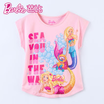 T-shirt Pink Barbie / Barbie 110cm 120cm 130cm 140cm 150cm 160cm female summer Short sleeve Crew neck princess No model nothing cotton Cartoon animation Cotton 95% polyurethane elastic fiber (spandex) 5% Class B other Autumn 2020 Chinese Mainland Guangdong Province Guangzhou City