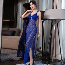Dress Summer 2020 Rose, sapphire, black S,M,L,XL longuette singleton  Sleeveless commute V-neck High waist Solid color Socket One pace skirt other camisole 25-29 years old Type X Other Simplicity Backless, Gouhua, hollow, stitching, zipper, lace More than 95% other other