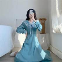 Dress Autumn 2020 blue XS 80 - 90 Jin , S 90 - 100 Jin , M 100 - 110 Jin , L 110 - 130 Jin longuette singleton  Long sleeves commute V-neck High waist Solid color Socket A-line skirt pagoda sleeve Others 25-29 years old Type A Other / other Retro bow KSC2026 polyester fiber