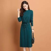 Dress Spring 2021 Black, rose, water blue, orange S,M,L,XL,2XL,3XL commute Solid color A-line skirt KLB / karobi other