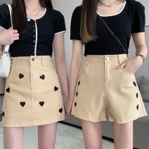 skirt Spring 2021 XS S M L Black shorts [ordinary] black shorts [small] black skirt [ordinary] black skirt [small] apricot shorts [ordinary] apricot shorts [small] apricot skirt [ordinary] apricot skirt [small] Short skirt Versatile High waist A-line skirt Solid color Type A 18-24 years old A123