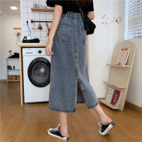 skirt Spring 2021 M,L,XL,2XL,3XL,4XL Denim blue longuette commute High waist Denim skirt Solid color Type A 18-24 years old FS200629 51% (inclusive) - 70% (inclusive) Denim cotton Pocket, stereo decoration, zipper, stitching Korean version 201g / m ^ 2 (including) - 250G / m ^ 2 (including)