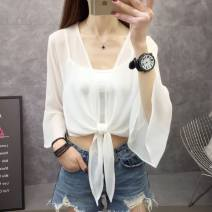 Lace / Chiffon Summer of 2019 K37-j-black, n68-i-white, R46 - [trumpet sleeve black], Q56 - [trumpet sleeve white], l27-o-light green, G55 pink purple S,M,L,XL Long sleeves commute Cardigan singleton  easy have cash less than that is registered in the accounts square neck Solid color routine Q11530