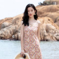 Dress Summer 2021 One piece dress S,M,L,XL Mid length dress singleton  Sleeveless commute V-neck High waist Broken flowers zipper A-line skirt routine camisole 25-29 years old Type A Other / other Korean version JH-838 More than 95% other other
