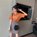 Fashion suit Summer 2021 S,M,L,XL Glamour orange MAJE BRIAN 96% and above cotton