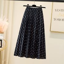 skirt Autumn 2020 Average size Black, gray, purple, pink Versatile High waist Pleated skirt Dot Type A