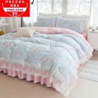 Bedding Set / four piece set / multi piece set cotton Quilting Plants and flowers 133x72 Isilani cotton 4 pieces 40 Bed skirt First Grade Princess style 100% cotton twill Reactive Print