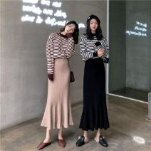skirt Spring 2021 S,M,L Black skirt, Khaki Skirt, black striped sweater, khaki striped sweater Mid length dress Sweet High waist Ruffle Skirt Solid color Type A Under 17 rp 0.8.. 31% (inclusive) - 50% (inclusive) Viscose Lotus leaf edge solar system
