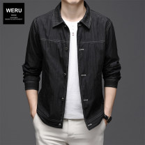 Jacket weru Business gentleman Black grey 170/M 175/L 180/XL 185/2XL 190/3XL thin standard Other leisure spring Cotton 70% polyamide 30% Long sleeves Wear out Lapel Business Casual middle age routine Single breasted Cloth hem No iron treatment Closing sleeve Solid color Spring 2021 Button decoration