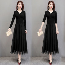 Dress Autumn 2020 Peach heart collar mesh dress, V-neck 5-sleeve mesh dress S,M,L,XL,2XL Mid length dress Fake two pieces Long sleeves commute V-neck Elastic waist Solid color Socket A-line skirt routine Others 30-34 years old Type A Other / other lady Q2053-1 30% and below knitting polyester fiber