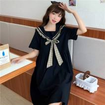 Dress Summer 2020 black Average size Middle-skirt singleton  Short sleeve Sweet Admiral Loose waist Socket A-line skirt routine Others 18-24 years old Type A 81% (inclusive) - 90% (inclusive) polyester fiber
