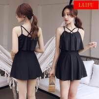 one piece  other S (recommended 75-85 kg), m (recommended 85-95 kg), l (recommended 95-110 kg), XL (recommended 110-120 kg) Skirt one piece With chest pad without steel support Spandex, polyester female Sleeveless Casual swimsuit Solid color backless