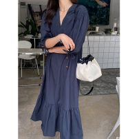 Dress Summer 2021 White, yellow, sapphire blue, light green Average size Mid length dress singleton  Short sleeve commute V-neck Loose waist Solid color Socket Ruffle Skirt puff sleeve Others 25-29 years old Type H Korean version 51% (inclusive) - 70% (inclusive) other cotton