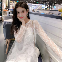 Dress Summer 2020 white Average size Middle-skirt singleton  Long sleeves commute Admiral High waist Solid color Socket A-line skirt pagoda sleeve Others 18-24 years old Type A Other / other Stitching, backless, lace, tassel, hollow out 31% (inclusive) - 50% (inclusive) Lace other