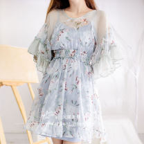 Dress Autumn of 2019 grey S,M,L Middle-skirt singleton  Long sleeves commute V-neck High waist Decor zipper Princess Dress pagoda sleeve camisole Type A Other / other Auricularia auricula, gauze mesh, stitching, backless, tassel, Sequin, ruffle, fold