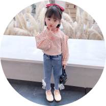 suit Other / other Suit (red shirt + jeans), suit (black shirt + jeans), red jacket, black jacket, bowtie jeans 90cm,130cm,140cm,120cm,100cm,110cm female spring and autumn princess Long sleeve + pants 2 pieces routine There are models in the real shooting Socket other children TSXP1637-1 Class B