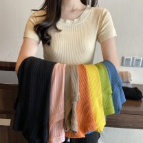 Lace / Chiffon Spring 2021 White, black, apricot, pink, orange, haze blue, bright yellow Average size Long sleeves commute Cardigan singleton  Self cultivation Regular other Solid color shirt sleeve Button, button Korean version 51% (inclusive) - 70% (inclusive) Viscose